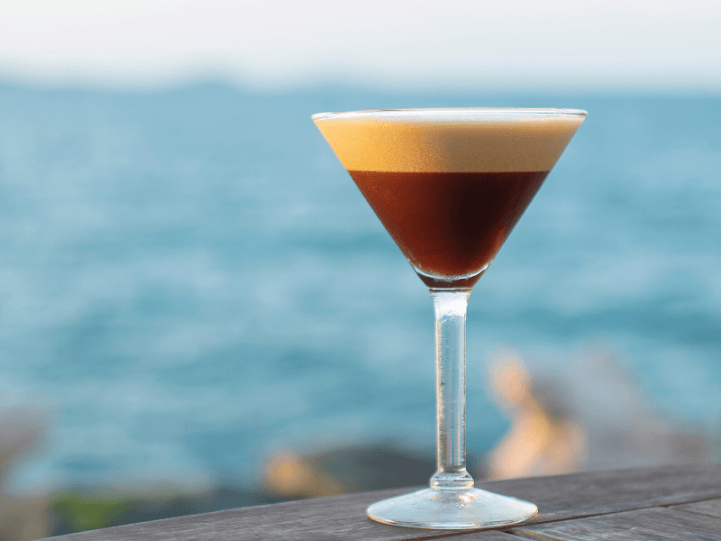Espresso martini cocktail served at the rocks