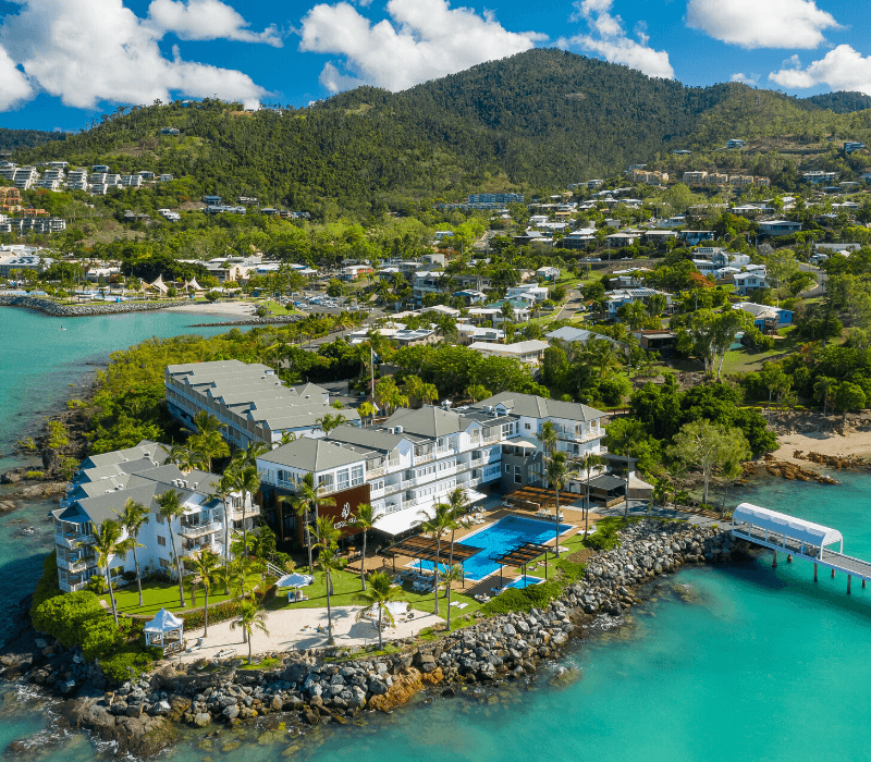 Aerial of the Coral Sea Resort Hotel in Airlie Beach