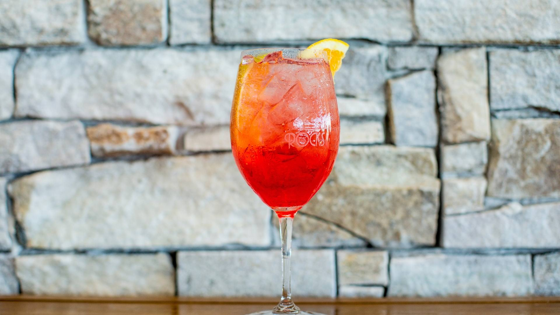 Aperol spritz served at the rocks