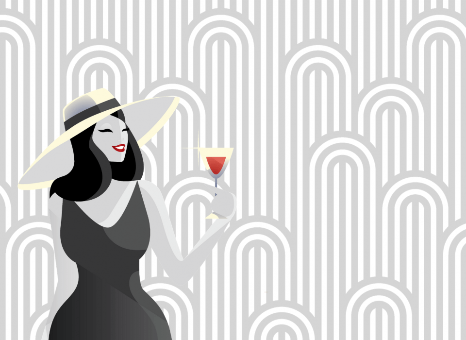 The Rocks image of woman with cocktail and 50's style graphic